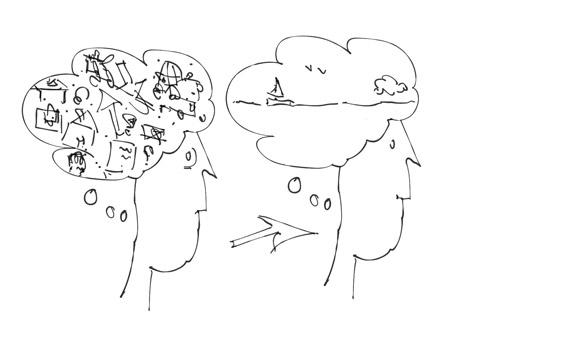 Mindfulness, van druk in je hoofd naar ruimte en rust in je hoofd. Met Mindfulness wordt het mogelijk om meer in het nu te leven.  Illustratie door Jolien Westerbroek-Hornbeck ©2020